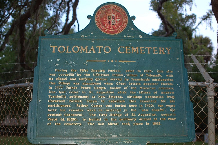 Tolomato Cemetery in St. Augustine is the oldest extant planned cemetery in the State of Florida, with burials starting during the First Spanish Period (1565-1763).