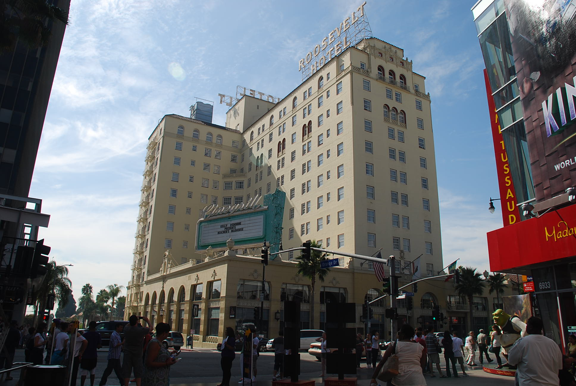 The Roosevelt Hotel is a historic Spanish-style hotel located at 7000 Hollywood Boulevard in Hollywood, Los Angeles, California. Named after Theodore Roosevelt and financed by a group including Douglas Fairbanks, Mary Pickford and Louis B. Mayer, it first