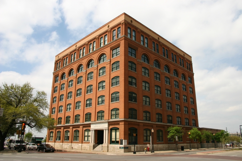 The Texas School Book Depository (now the Dallas County Administration Building) is the former name of a seven-floor building facing Dealey Plaza in Dallas, Texas (U.S.). Located on the northwest corner of Elm and North Houston Streets.