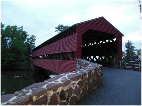 Built in 1852 by David S. Stoner. On June 19, 1996, a flash flood knocked the bridge from one of its abutments. It was restored: over 75% of its original structure was used. It was reconstructed in 1996. The bridge was rededicated on July 21, 1997.