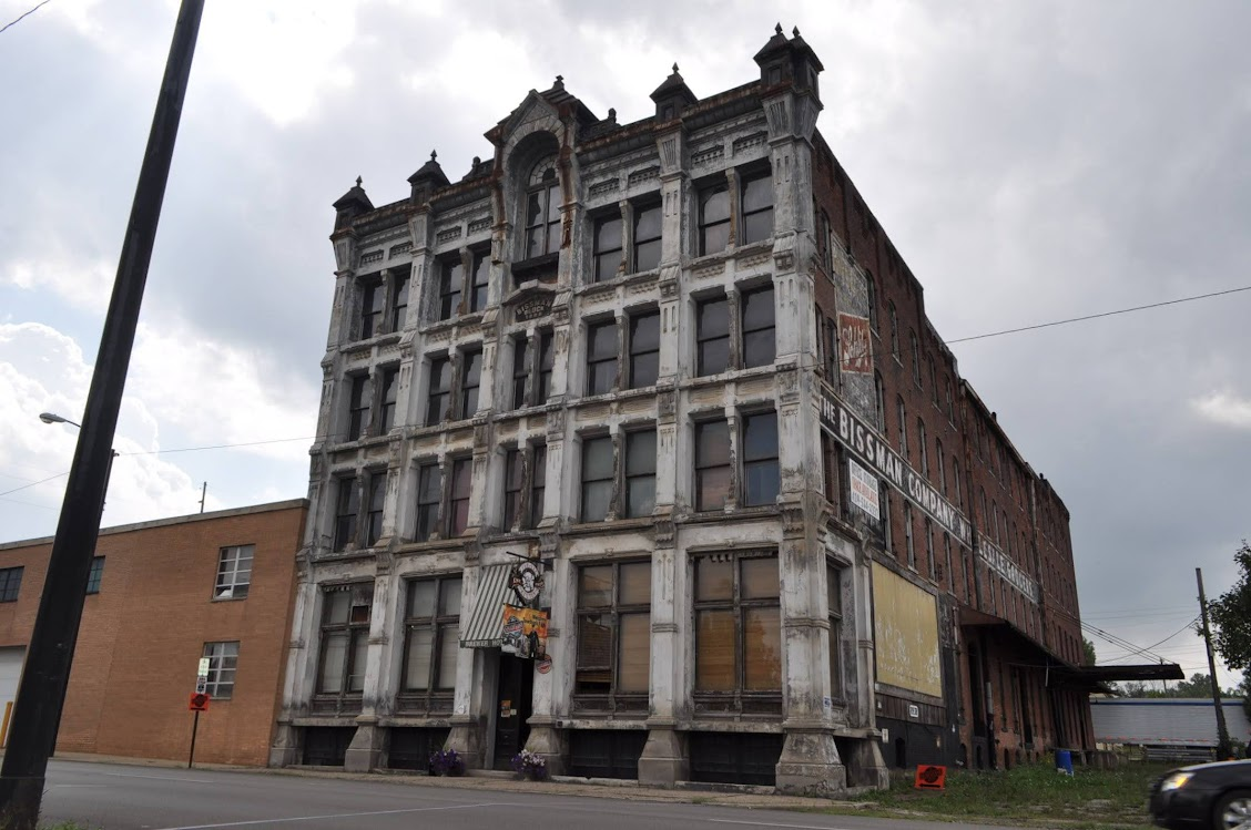 The structure was built in 1886 where Peter Bissman's expanded wholesale grocery still stands today, but not in operation.