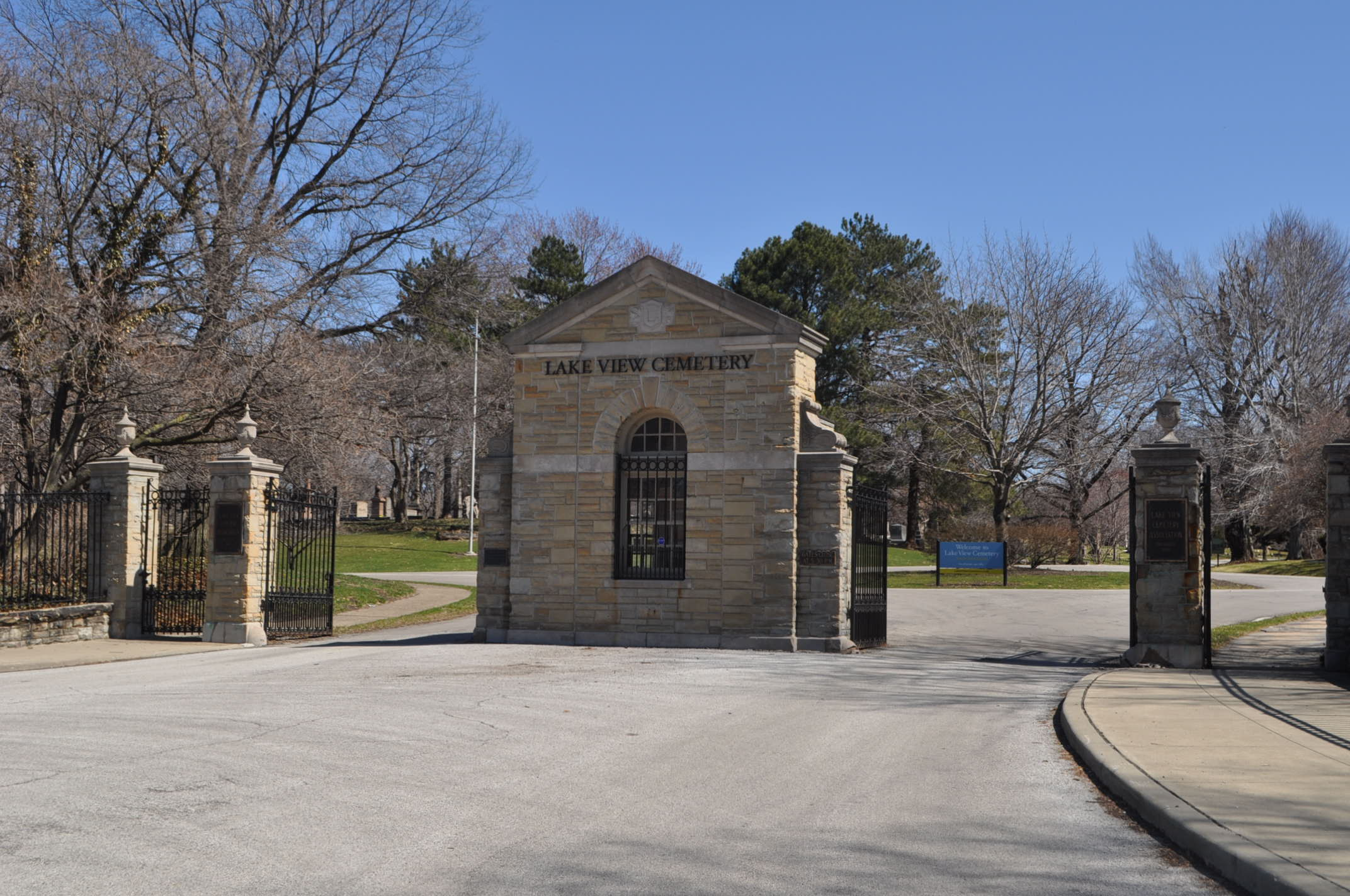 Lakeview Cemetery, founded in 1869 by wealthy Clevelanders including Jeptha Wade, was modeled after Boston's Mount Auburn Cemetery as well as the historic cemeteries of France and England.