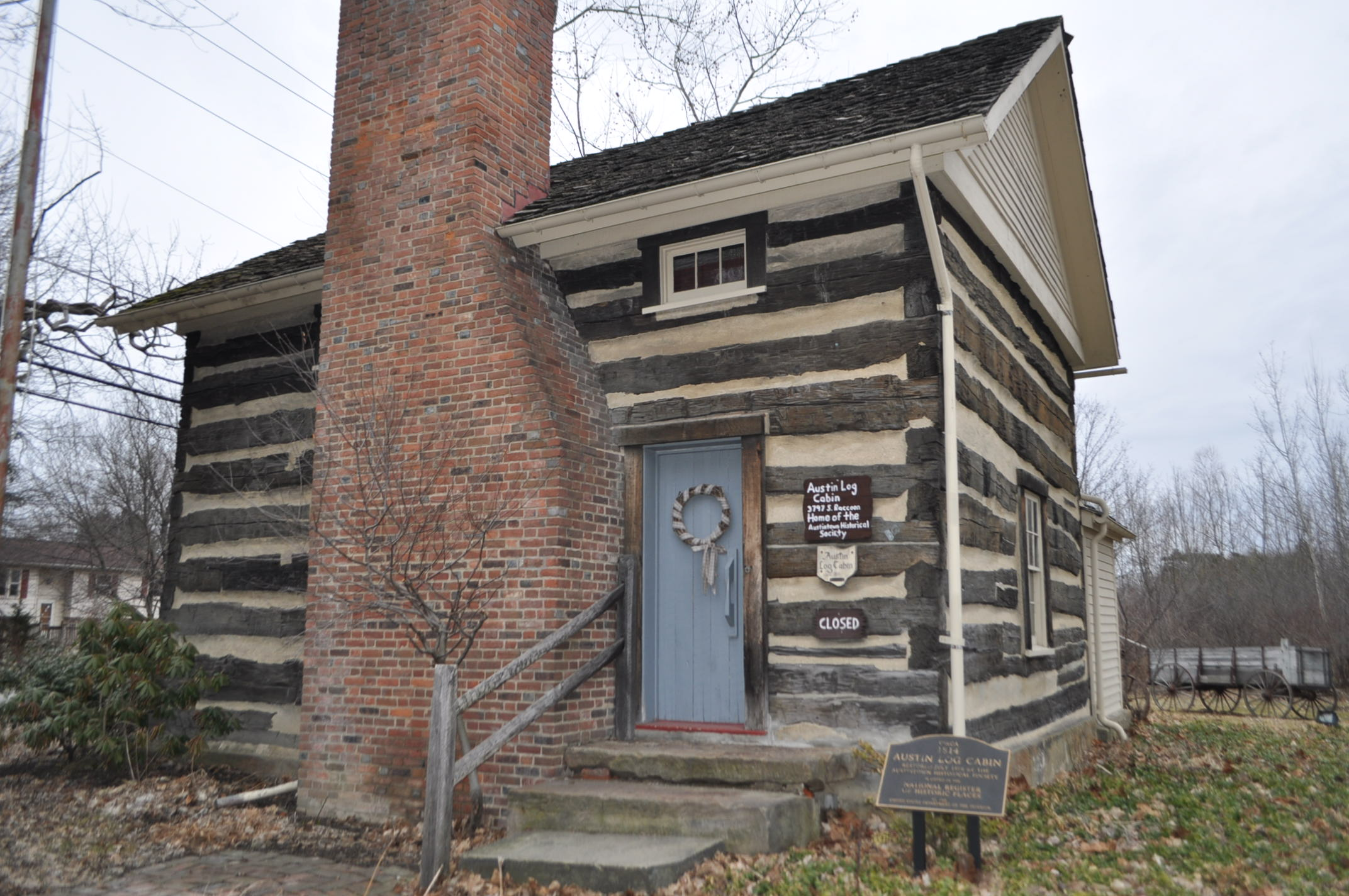 Austintown Log House is a log cabin near Youngstown, Ohio, listed on the National Register of Historic Places on 1974-07-30. It is managed by the Austintown Historical Society and commonly known as the