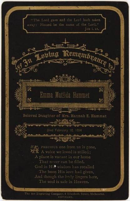 Victorian Funeral Cards