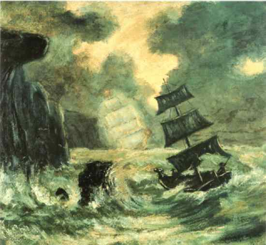 The Flying Dutchman is a legendary ghost ship that can never make port and is doomed to sail the oceans forever. The myth is likely to have originated from 17th-century nautical folklore. The oldest extant version dates to the late 18th century. Sightings in the 19th and 20th centuries reported the ship to be glowing with ghostly light. If hailed by another ship, the crew of the Flying Dutchman will try to send messages to land, or to people long dead. In ocean lore, the sight of this phantom ship is a portent of doom.