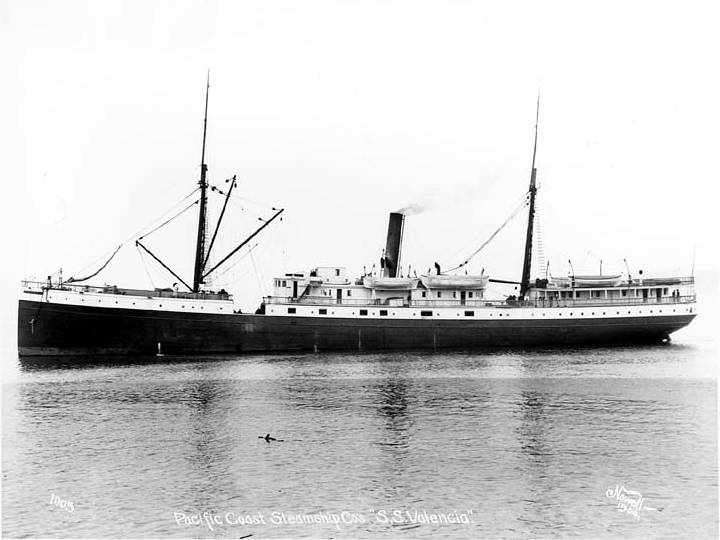 The SS Valencia was an iron-hulled passenger steamer built as a minor ocean liner for the Red D Line for service between Venezuela and New York City. She was built in 1882 by William Cramp and Sons, one year after the construction of her sister ship Caracas. She was a 1,598 ton vessel (originally 1,200 tons), 252 feet (77 m) in length.  In 1897, the Valencia was deliberately attacked by the Spanish cruiser Reina Mercedes off Guantanamo Bay, Cuba. The next year, she became a coastal passenger liner on the U.S. West Coast and served periodically in the Spanish American War as a troopship to the Philippines