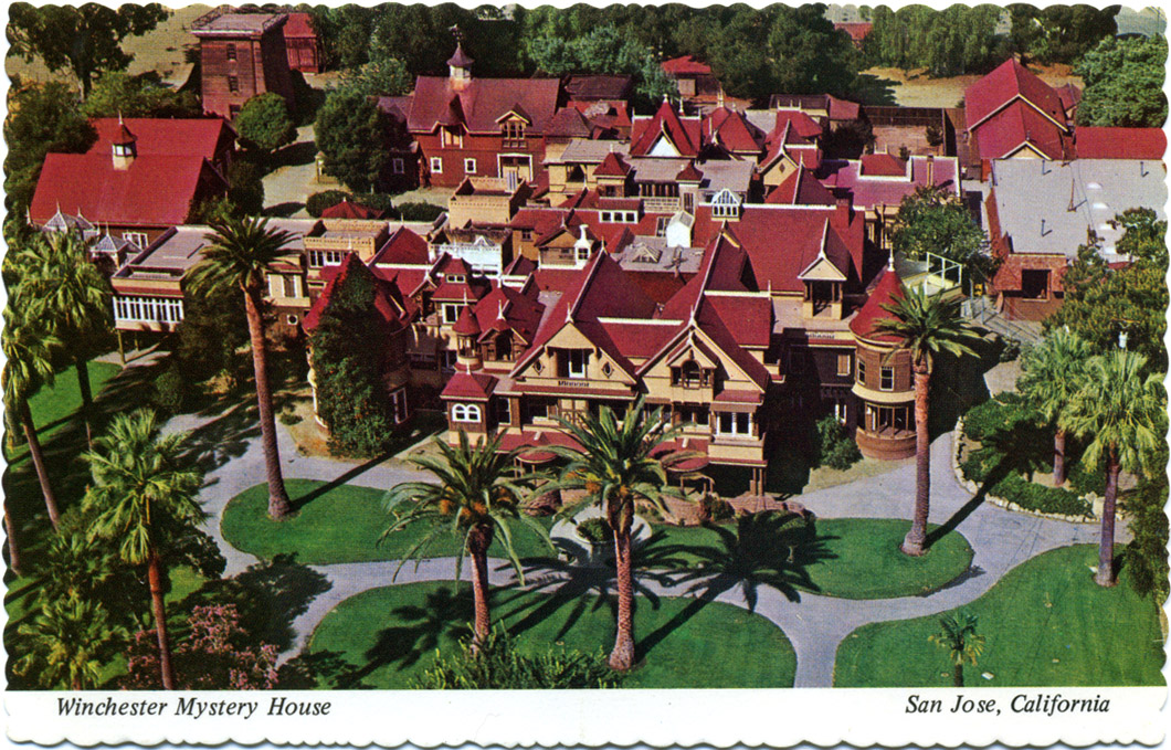 The Winchester Mystery House in San Jose, Calif., was under construction 24 hours a day for 38 years, from the time Mrs. Sarah Winchester bought the original six-bedroom farmhouse until her death in 1922.