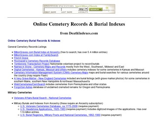 Online Cemetery Records & Burial Indexes (USA)